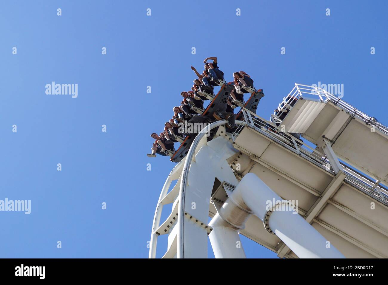 Gardaland, italy 20 june 2019 . Young people screaming during a ride at roller coaster Gardaland park Stock Photo