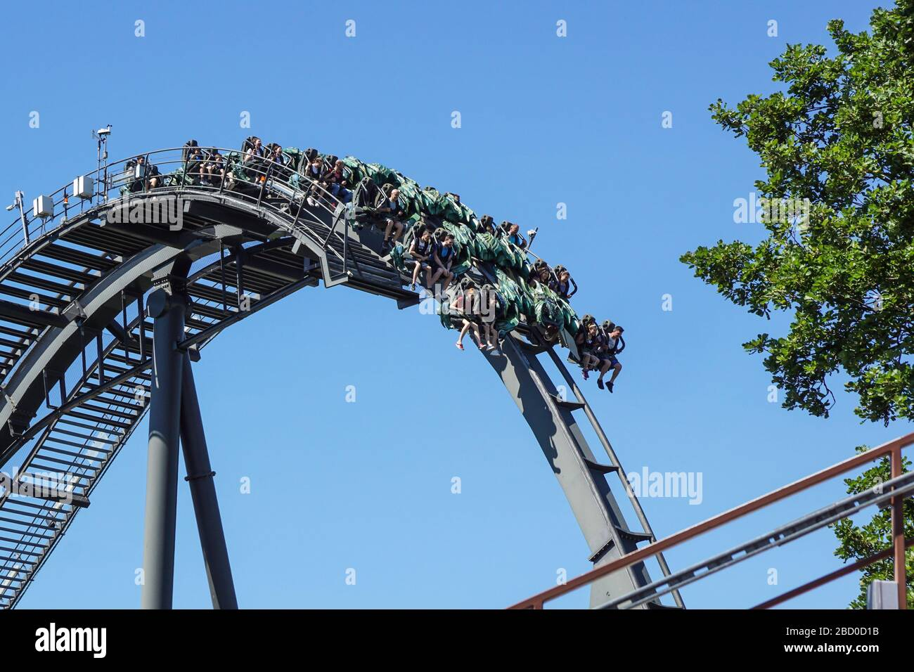 Gardaland, italy 20 june 2019 . Young people screaming during a ride at roller coaster Gardaland park . Stock Photo