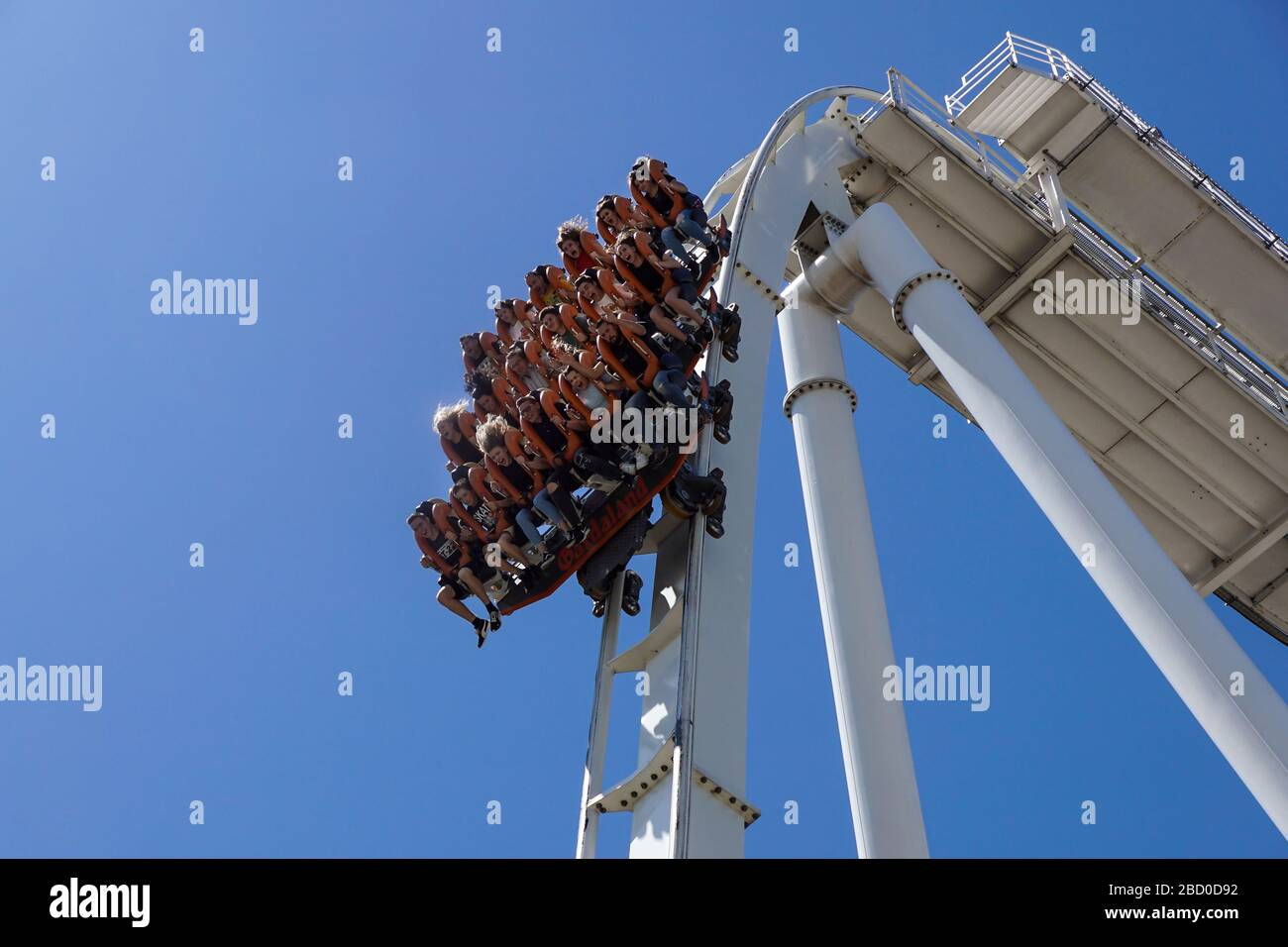Gardaland, italy 20 june 2019 . Young people screaming during a ride at roller coaster Gardaland park Stock Photo