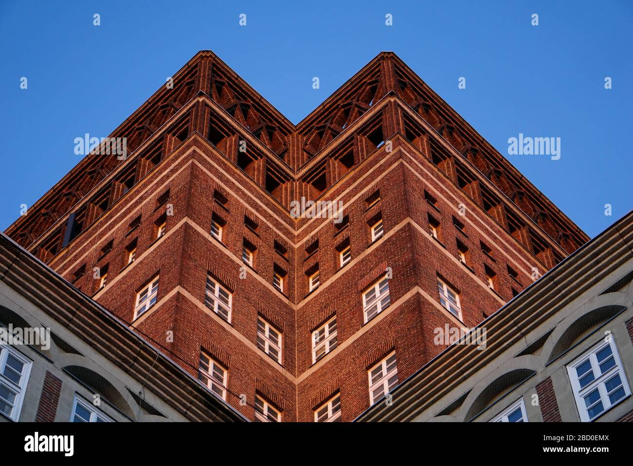"""Wilhelm-Marx-Haus, an office building erected in 1924. At that time, it was one of the first """"skyscrapers"""" in Germany. It is only 187 ft. high though. Stock Photo"""