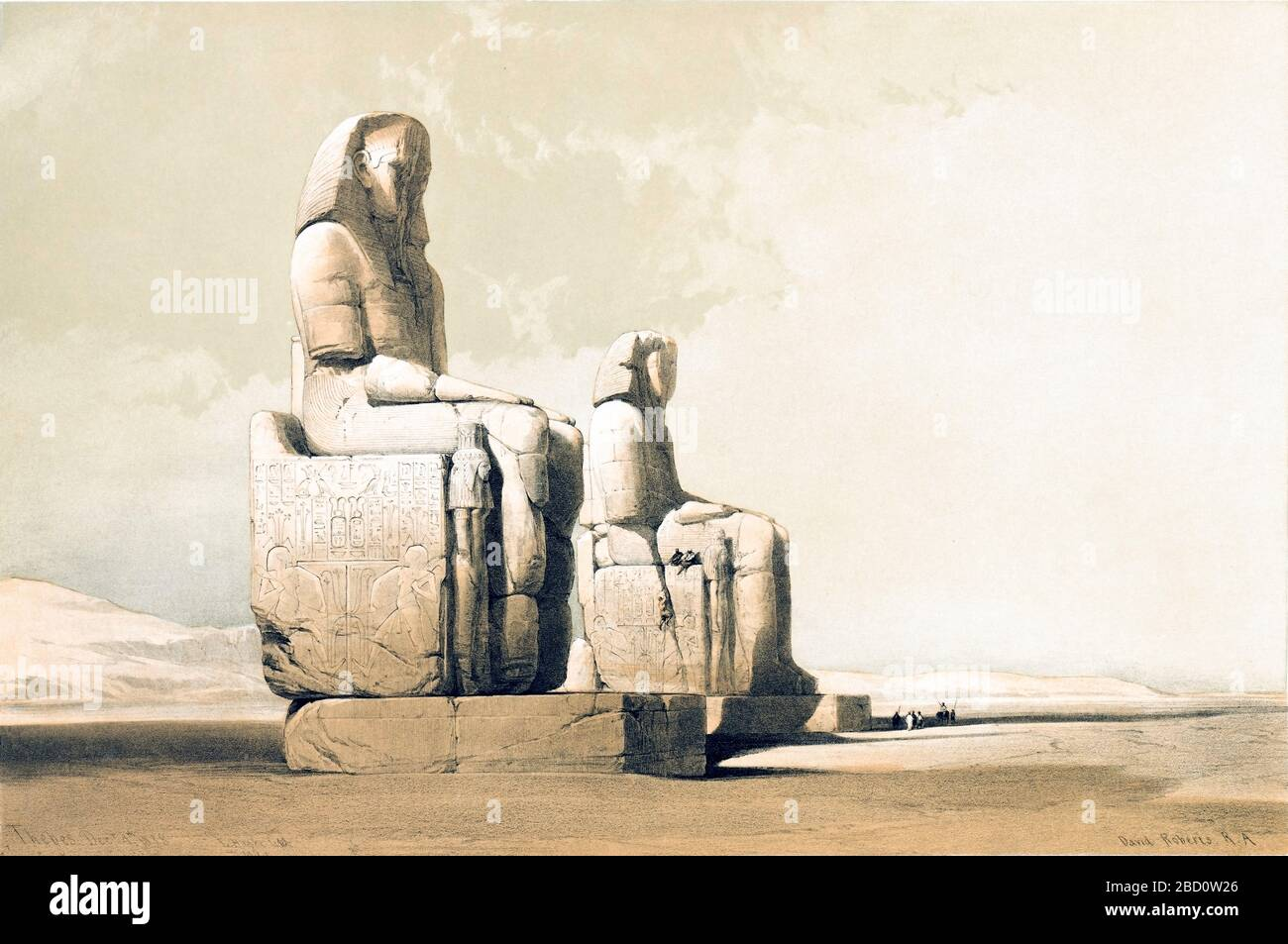 The colossal statues of Amenophis III at his mortuary temple in Thebes. Color lithograph by David Roberts, 1846. From Egypt and Nubia, Volume I: Thebes, 1846. Louis Haghe (British, 1806-1885), F.G.Moon, 20 Threadneedle Street, London, after David Roberts (British, 1796-1864). Color lithograph Stock Photo