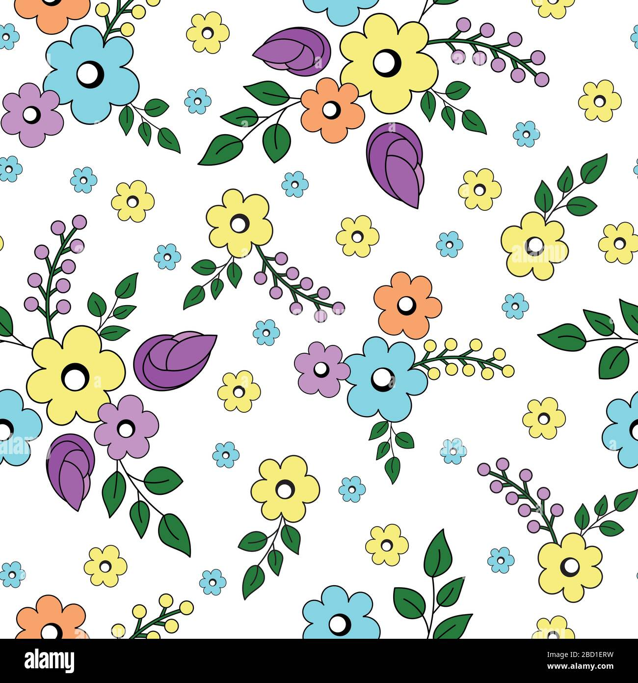 Stylized Cute Pastel Flower Bouquets With Twigs And Leaves Small Flowers On A White Background Seamless Color Vector Pattern Stock Vector Image Art Alamy