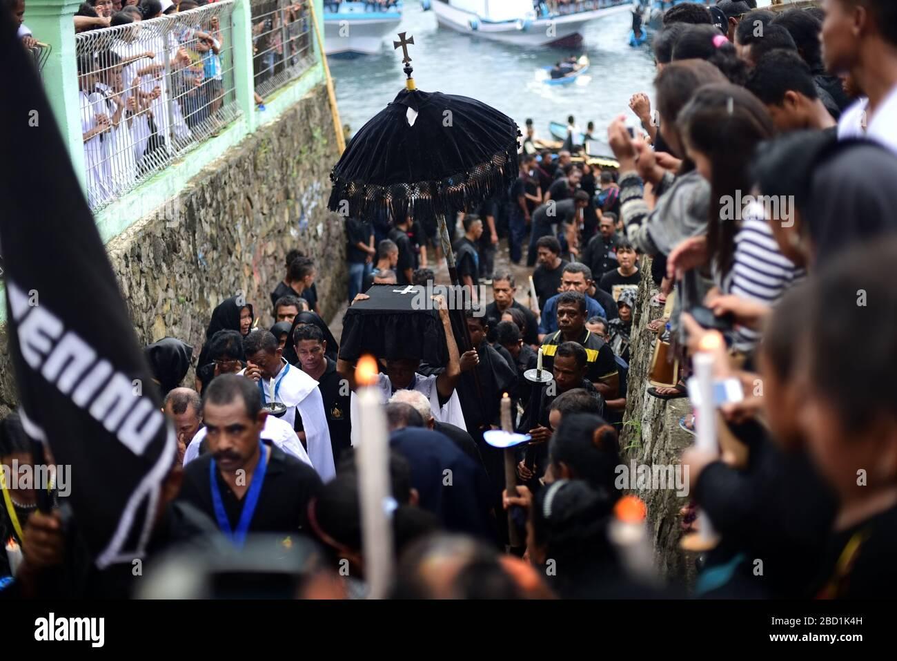 Semana Santa (Holy Week) procession in Larantuka, Flores Island, Indonesia. Stock Photo