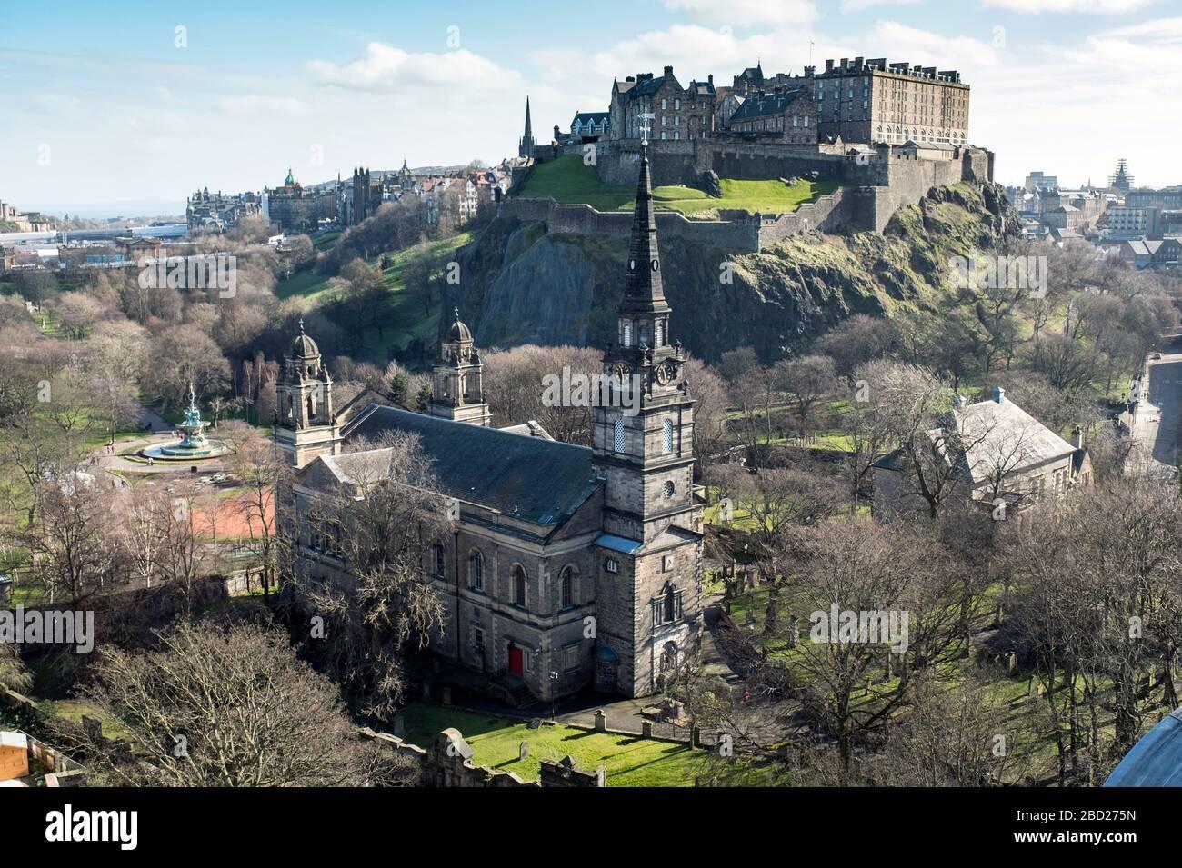 A view of St Cuthbert Parish Church and Edinburgh Castle. Stock Photo