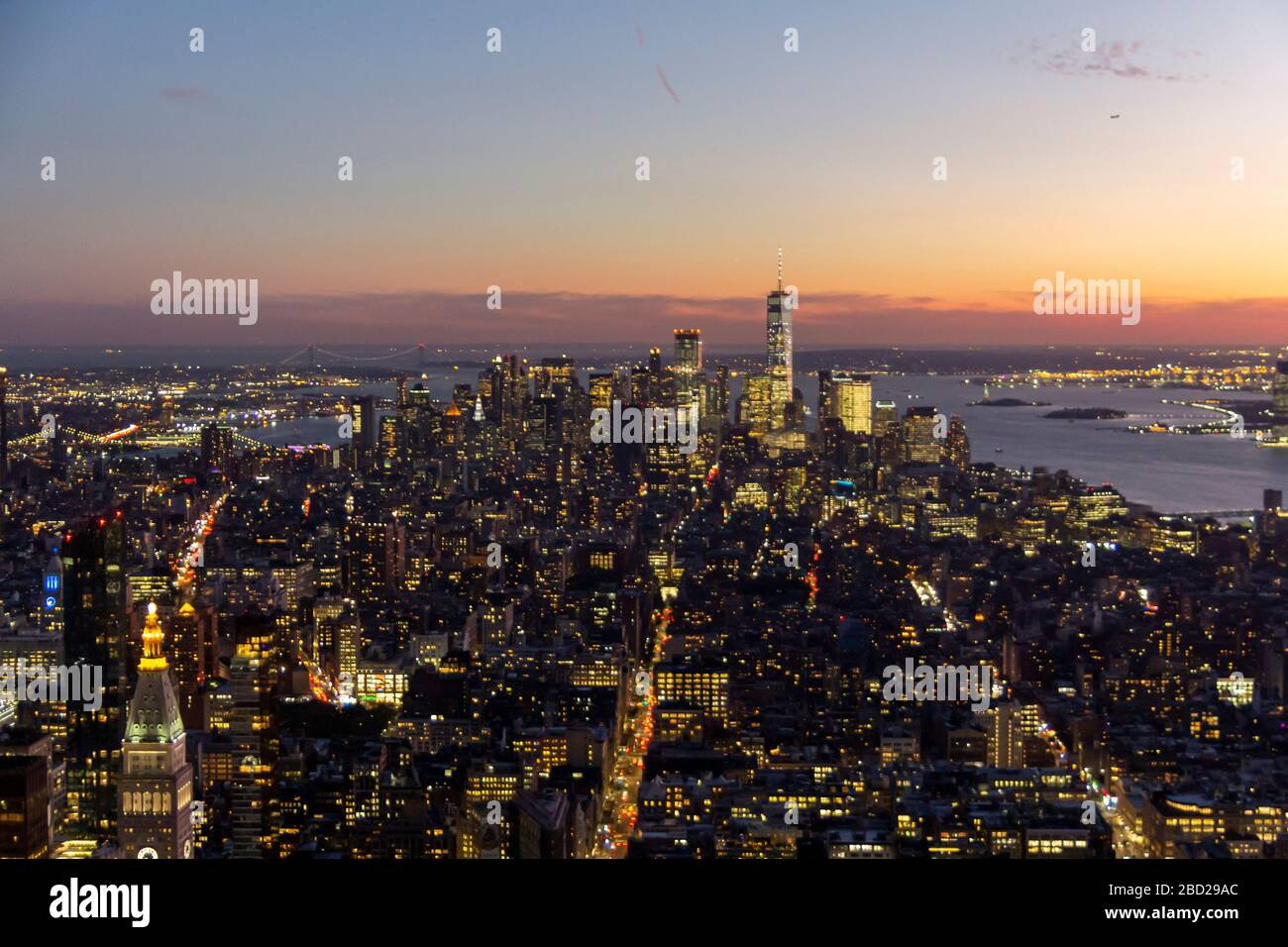 New York, United States: October 16, 2019: New York city view from the top of Empire State building, with lower Manhattan and Hudson river Stock Photo