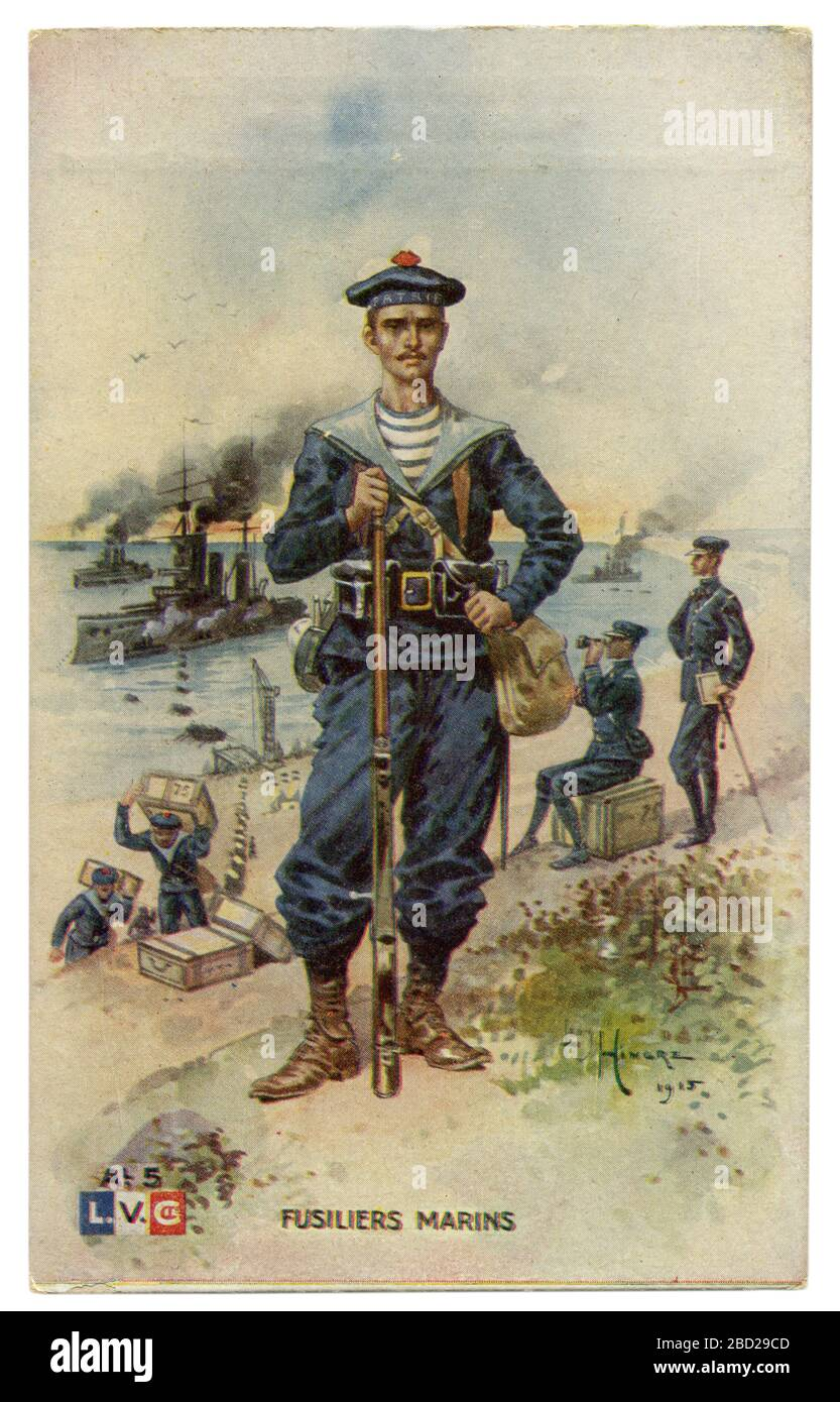 French historical postcard: A marine in military uniform with a rifle in full equipment against the background of warships. World war one 1914-1918 Stock Photo