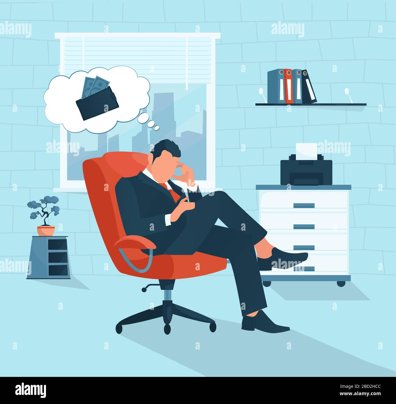 Vector of a sad businessman having financial problem thinking of economy crisis lack of money Stock Vector