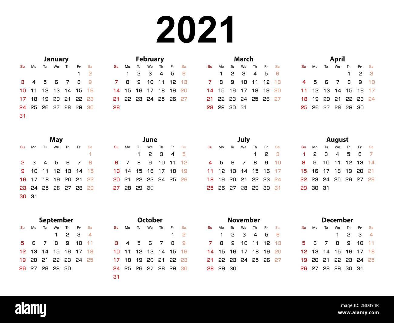 2021 Calendar Sundays Photos