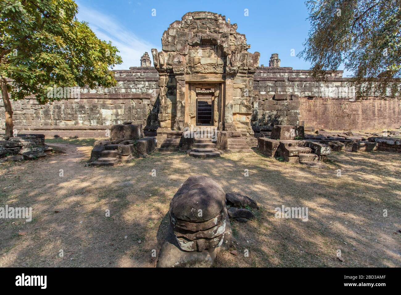 Bakong Prasat temple in Angkor Wat complex, Siem Reap, Cambodia. Stock Photo