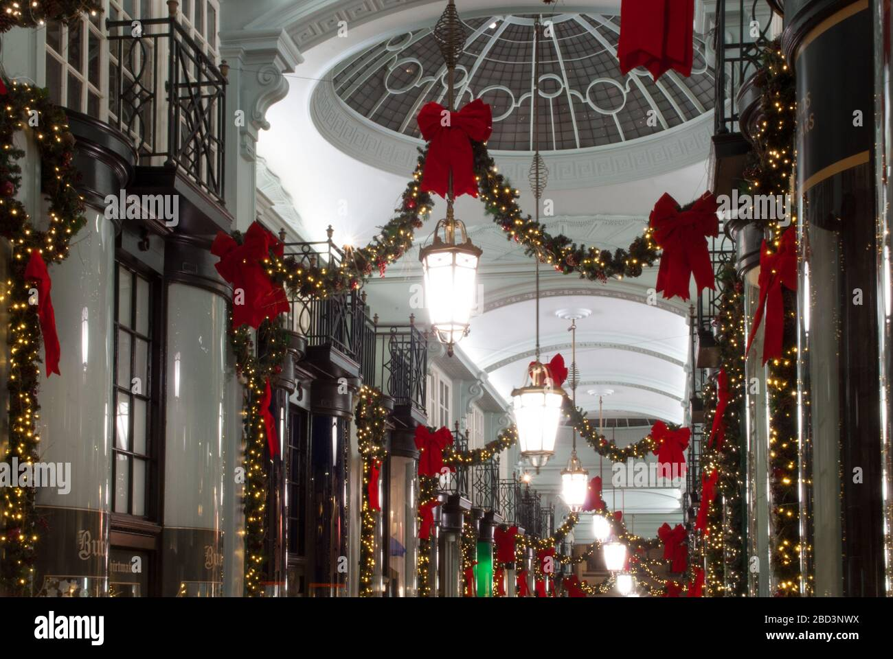 Christmas Decorations Retail Shopping Shops Arcade Piccadilly Arcade, St. James's, London SW1Y 6NH Stock Photo