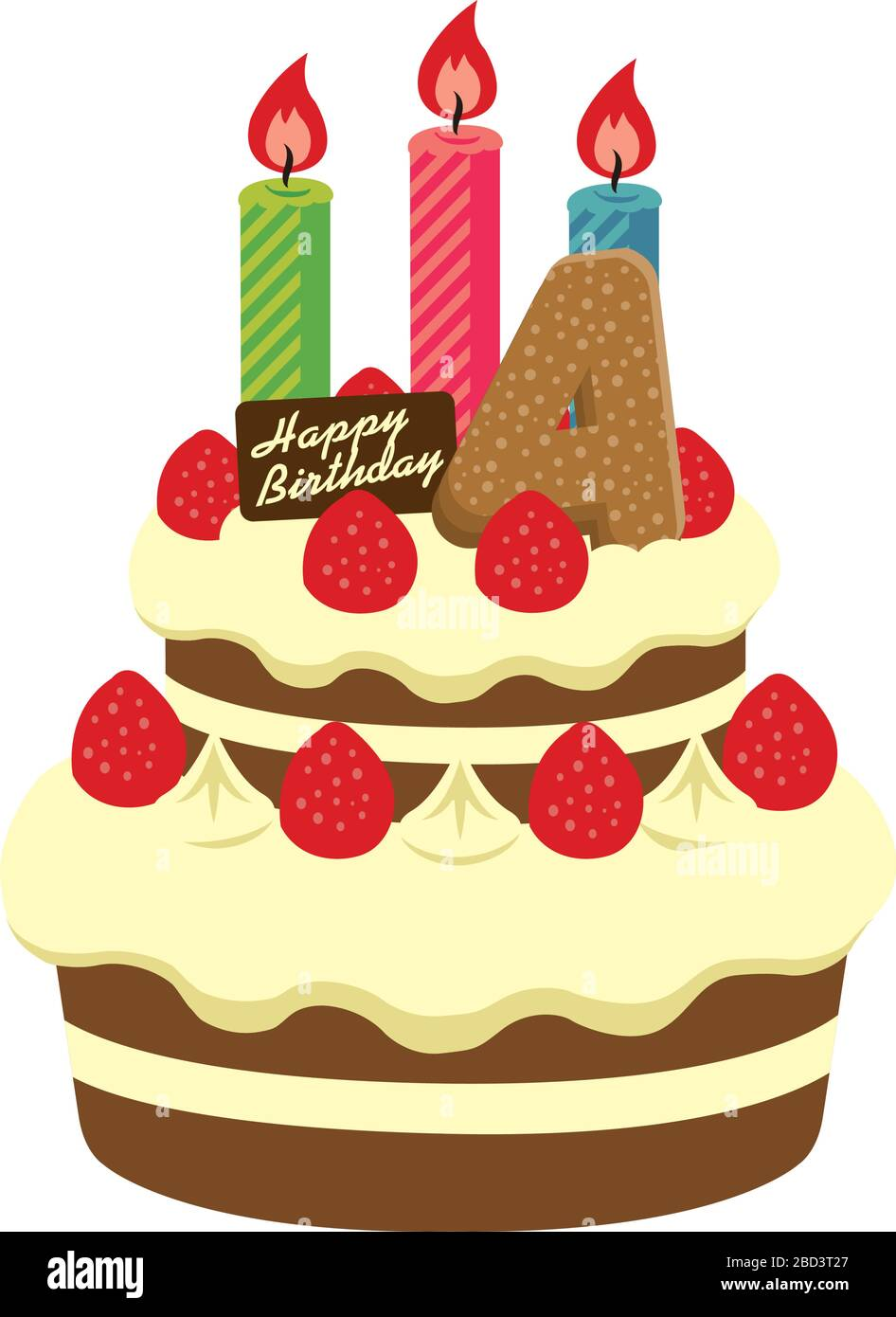 Amazing Birthday Cake Illustration For 4 Years Old Stock Vector Art Personalised Birthday Cards Veneteletsinfo