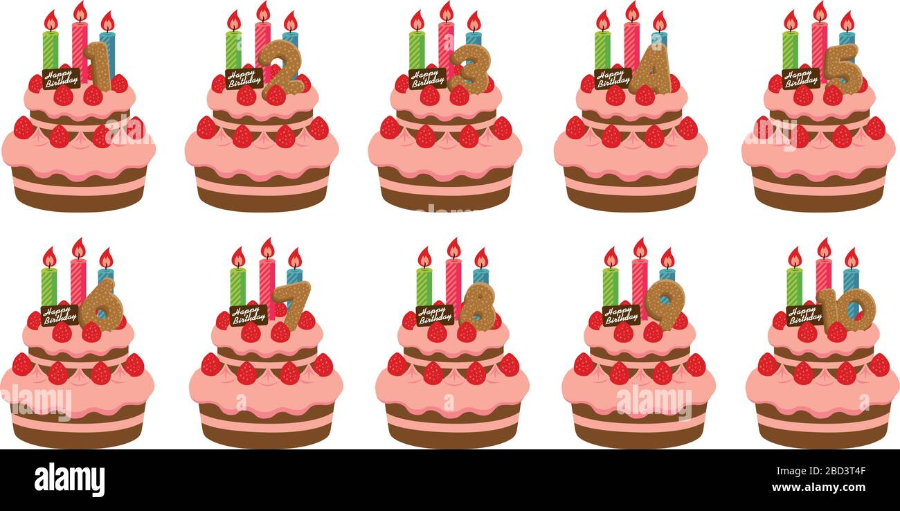 Outstanding Birthday Cake Illustration Set For 1 10 Years Old Stock Vector Funny Birthday Cards Online Barepcheapnameinfo