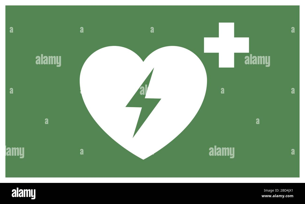 First aid sticker AED Automated external defibrillator sticker warning signs set