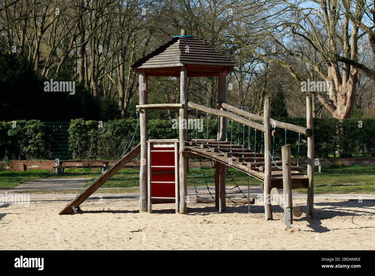 Empty playground, closed due to corona virus, forbidden to enter, Germany, Europe Stock Photo