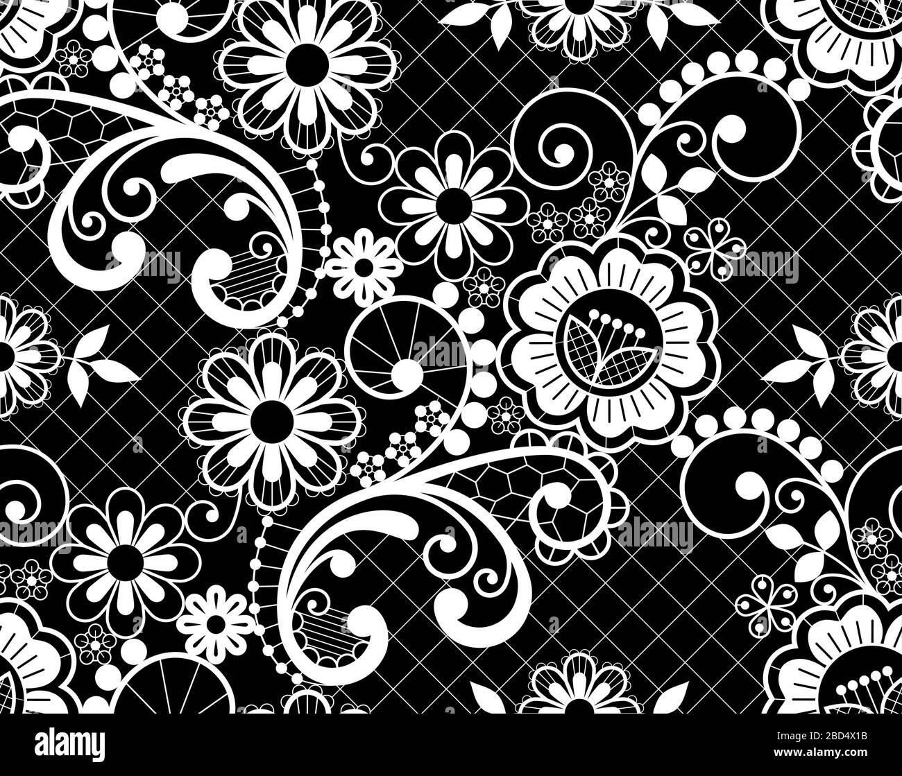 Retro seamless lace vector design - detailed vector wedding lace pattern  with flowers and swirls, symmetric ornament Stock Vector Image & Art - Alamy   1119x1300