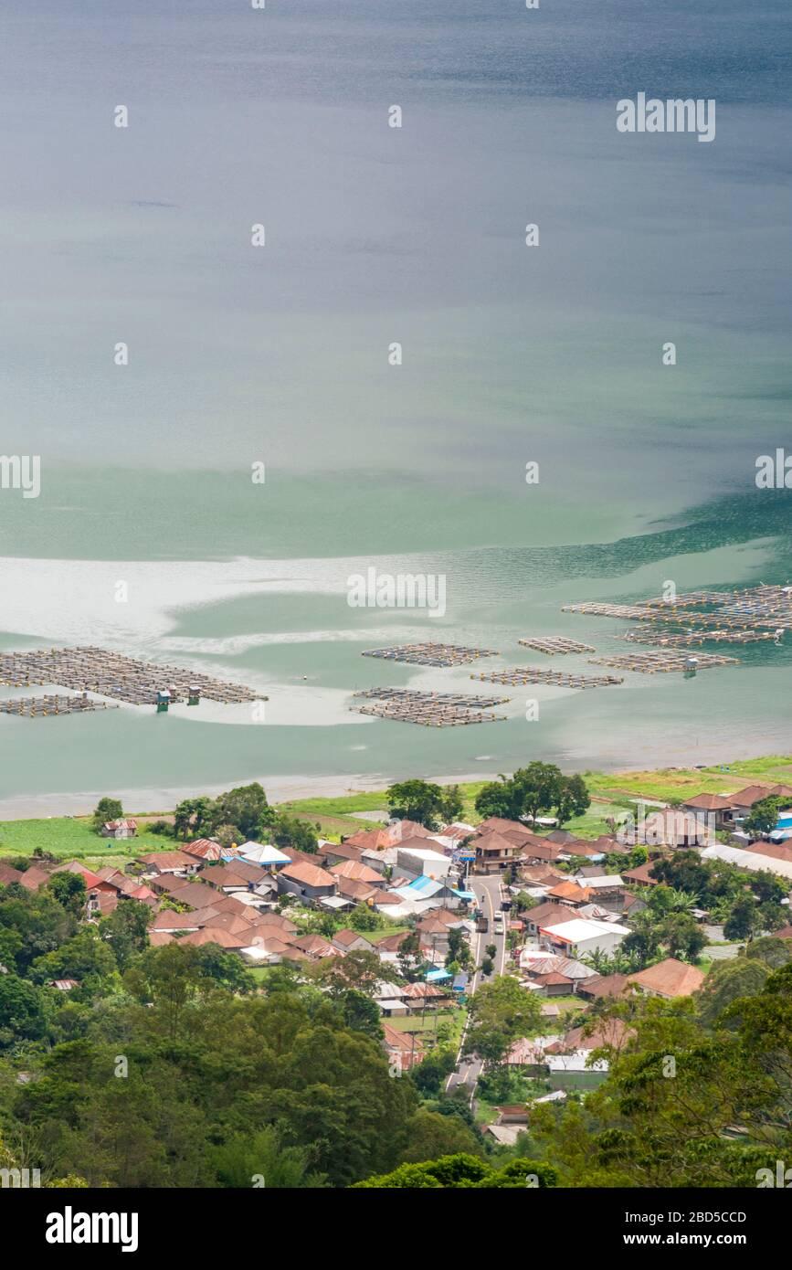 Vertical aerial view of the fish farming at Kintamani on Lake Batur in Bali, Indonesia. Stock Photo