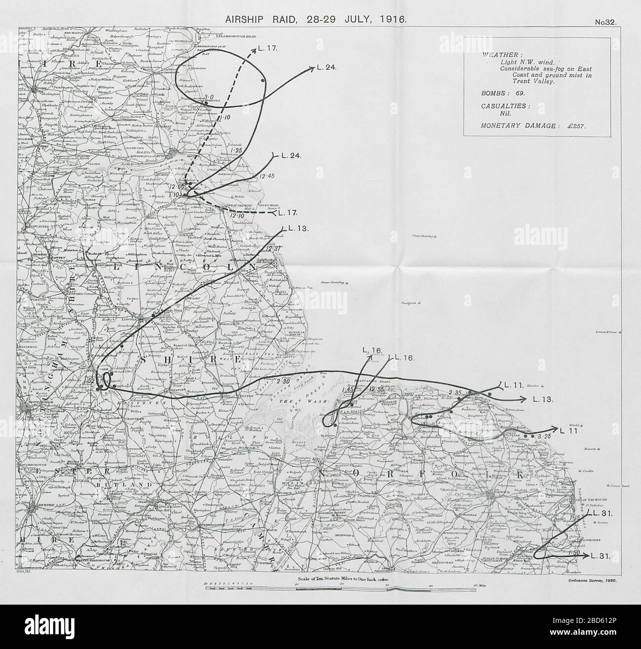First World War German Airship raid 28-29 July 1916 Newark Lincoln Cromer Holt 1930 map Stock Photo