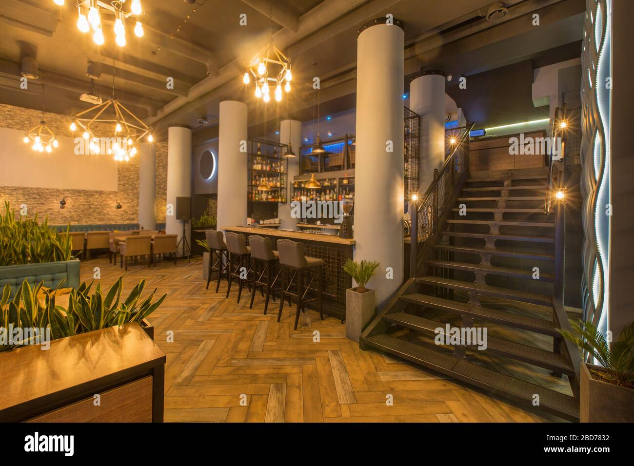 Interior Of Modern Urban Cafe Or Restaurant Interior Stock Photo Alamy