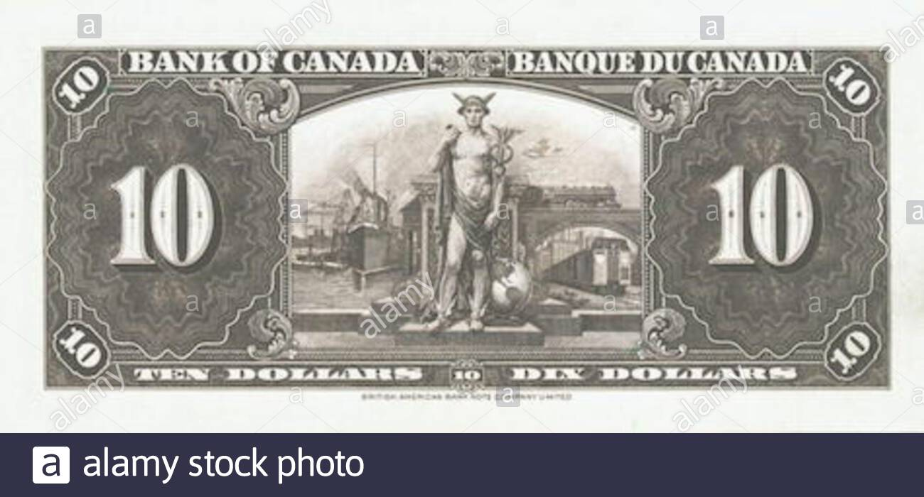 English Back Of 1937 Bank Of Canada 10 14 April 2014 07 58 32 Google Image Search And Ebay Bank Of Canada Stock Photo Alamy