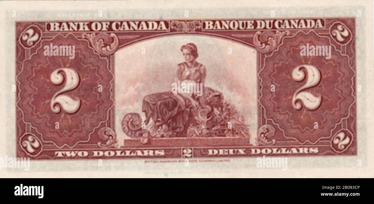 English Back Of 1937 Bank Of Canada 2 21 February 2013 21 34 43 Google Image Search And Ebay Bank Of Canada Stock Photo Alamy