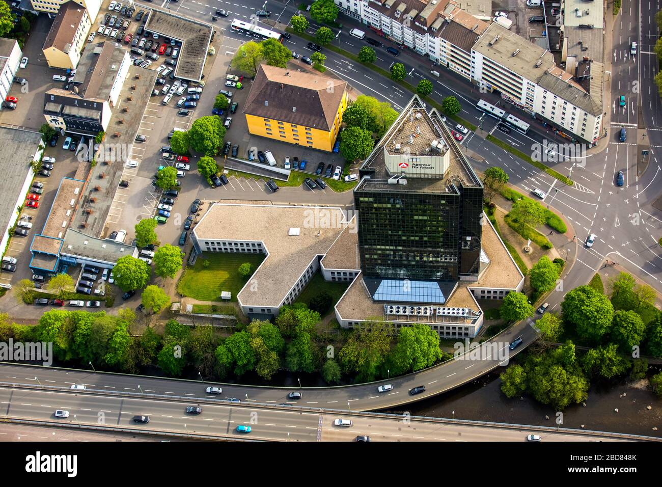 , employment office Agentur fuer Arbeit at Koernerstrasse in Hagen-Mittelstadt, 09.05.2016, aerial view, Germany, North Rhine-Westphalia, Ruhr Area, Hagen Stock Photo