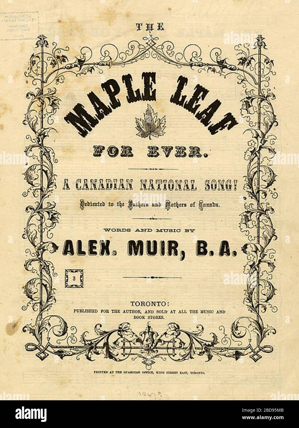 """""""English: The cover to the sheet music to the Canadian patriotic song The Maple Leaf Forever.  Composed in 1867 by Alexander Muir. This is one of the original 1,000 copies of the song that Muir had printed in 1868.; 1868; Toronto Public Library: Collected Works        This image is available from the Toronto Public LibraryThis tag does not indicate the copyright status of the attached work. A normal copyright tag is still required. See Commons:Licensing. English