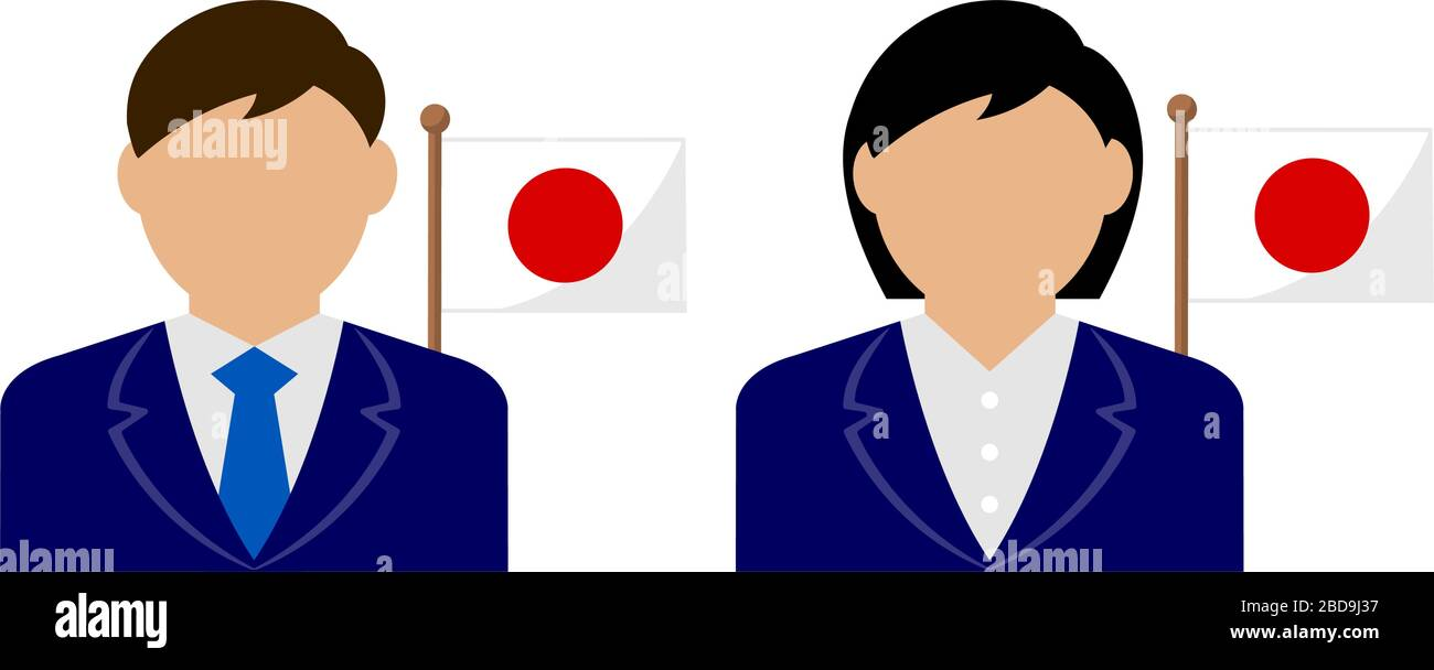 Faceless business person with national flags / Japan . Flat vector illustration. Stock Vector