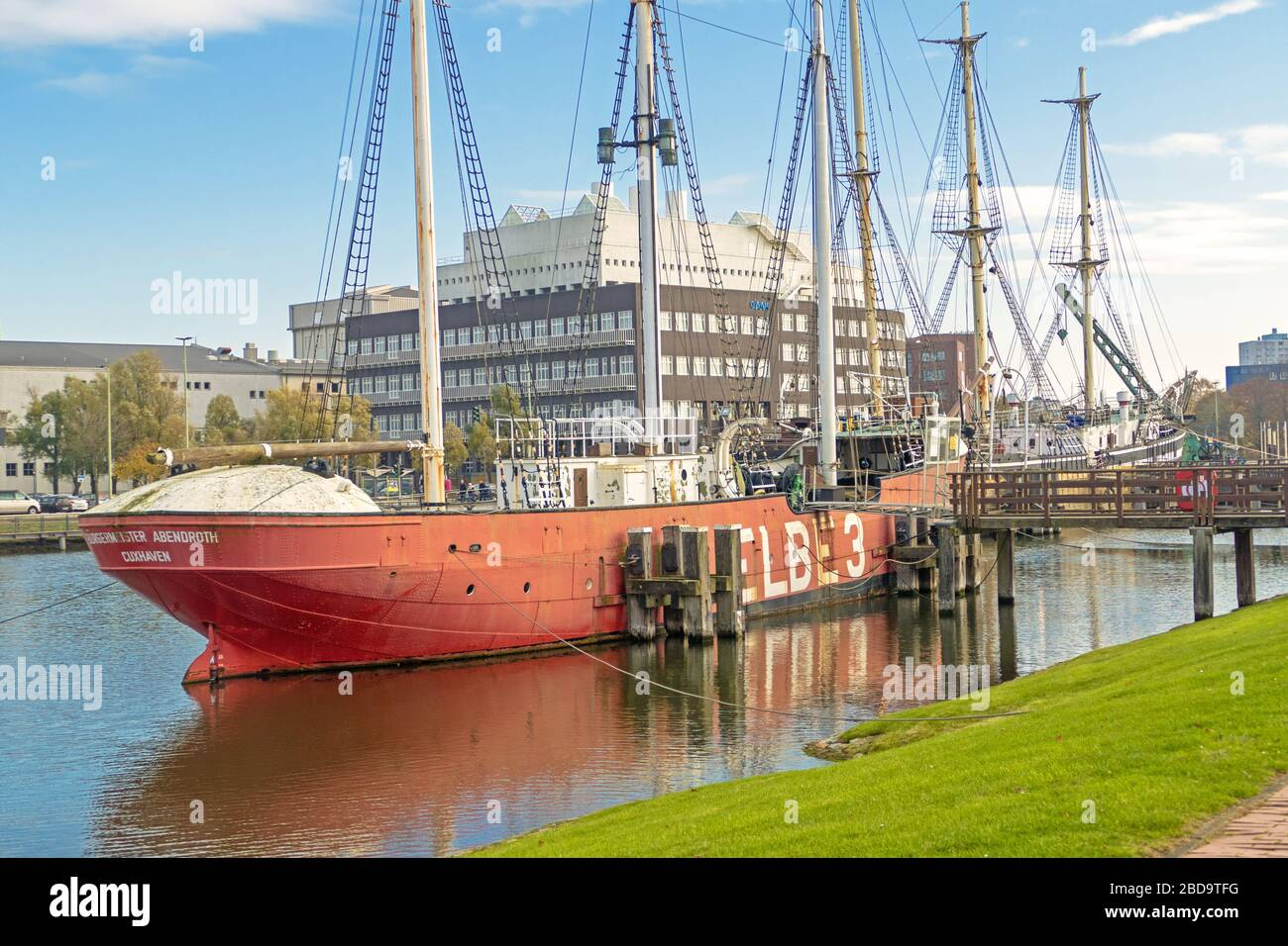 "BREMERHAVEN, GERMANY - November 10, 2019: Historic lightship called ""Elbe 3"" in port of Bremerhaven Stock Photo"