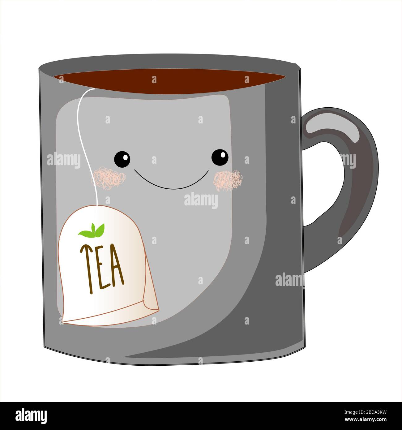 Cute Tea Cup Character Sweet Teabag With Cute Faces Emoji Doodle Objects Cute Tea Bag Set Cup Emoji Set With Cheeks And Eyes Colored Beautiful Stock Vector Image Art Alamy