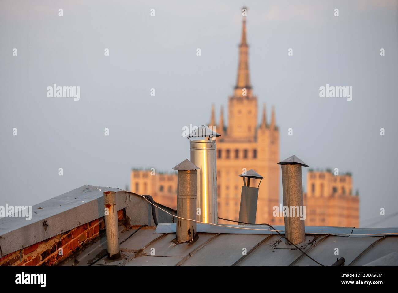 MOSCOW, RUSSIA - APRIL 8, 2020: A view of the Kudrinskaya Square Building. Marina Lystseva/TASS Stock Photo