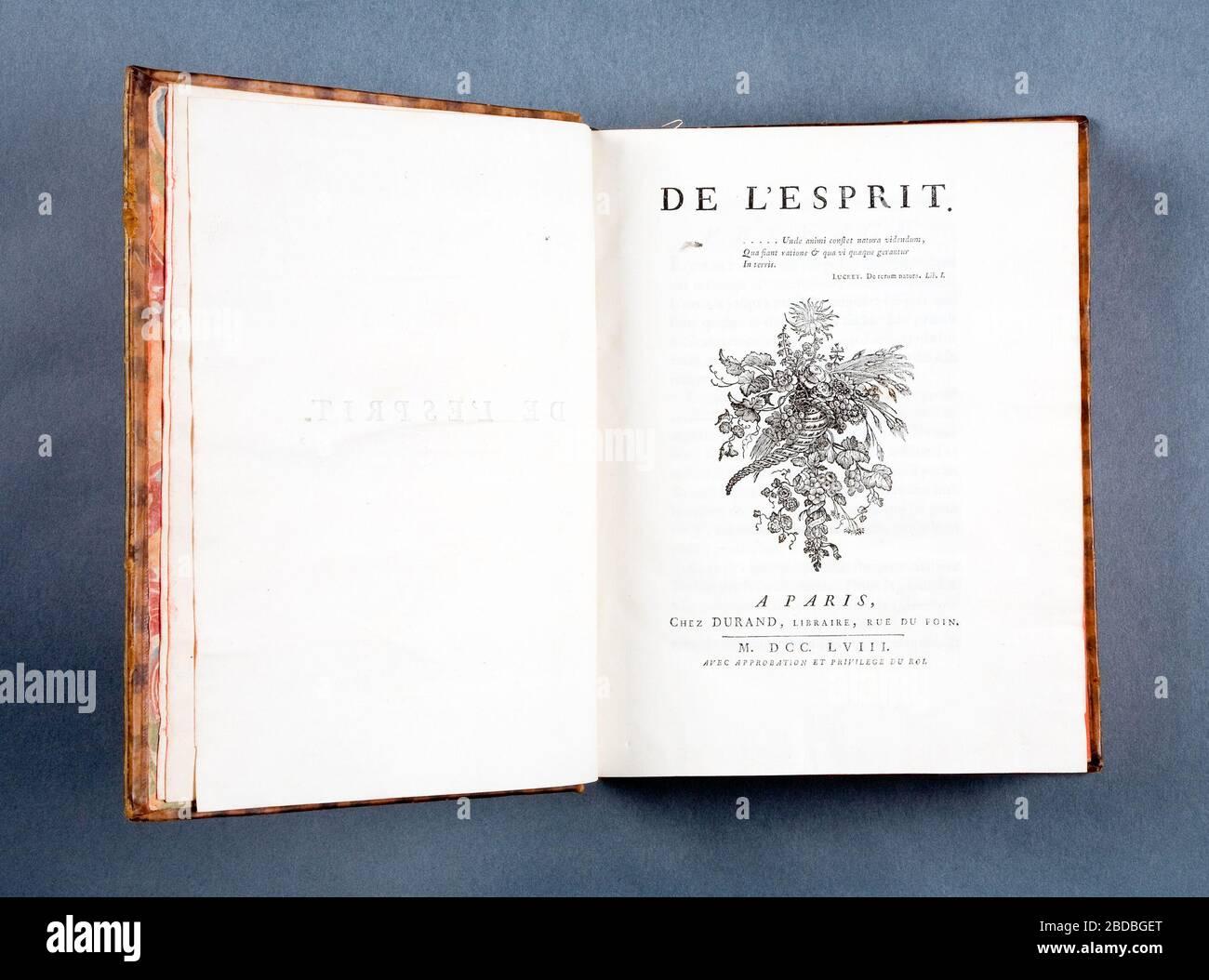"""""""De l'esprit...A Paris, chez Durand, libraire...MDCCLVIII. (Kolofon:) De l'imprimerie de Moreau, imprimeur de la Reine...; Svenska: Sprängd kalv m. guldtr. dekor rygg. Rött snitt.; 1758date QS:P571,+1758-00-00T00:00:00Z/9; LSH 86177 (sm_dig4074); """" Stock Photo"""