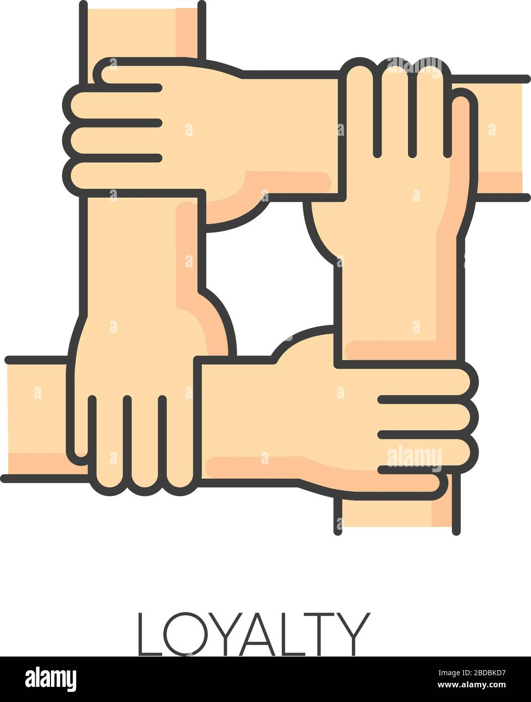 Loyalty Rgb Color Icon Social Connection Collective Bonding Fellowship Friendship Unity Teamwork And Faithfulness Symbol People Holding Hands Stock Vector Image Art Alamy