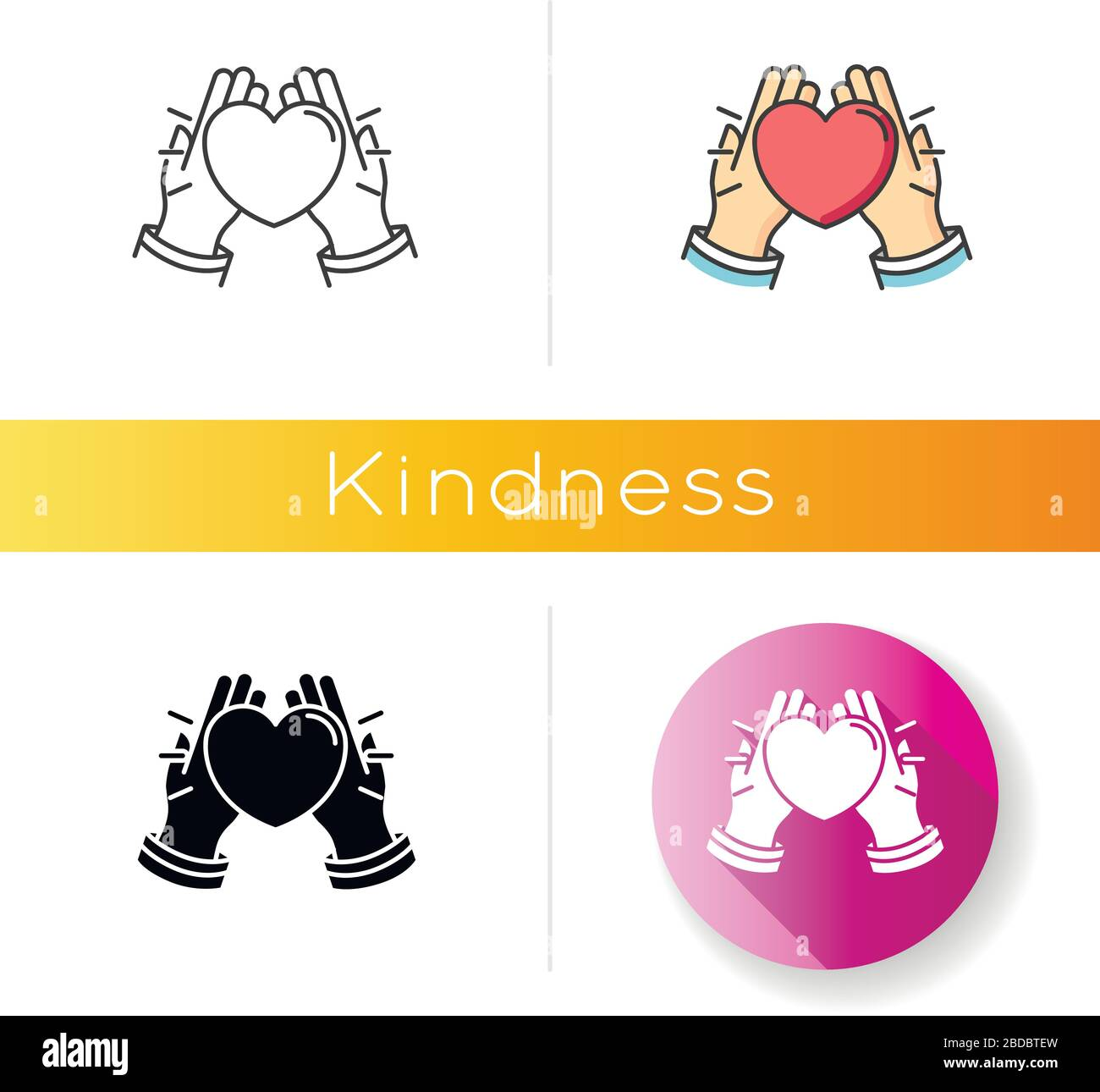 - Kindness Icon. Linear Black And RGB Color Styles. Emotional