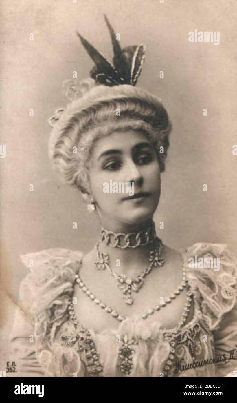 """""""English: Photographic postcard of Mathilde Felixovna Kschessinskaya (1872-1971), Soloist to His Imperial Majesty and Prima ballerina of the St. Petersburg Imperial Theatres. She is costumed as Marie Camargo in the choreographer Marius Petipa (1811-1910) and the composer Ludwig Minkus's (1826-1917) 1872 ballet La Camargo.; circa 1902 date QS:P,+1902-00-00T00:00:00Z/9,P1480,Q5727902; Photographic postcard owned and scanned by MrLopez2681, purchased via a seller of rare theatrical photos.; Unknown photographer of the photography department of the Imperial Mariinsky Theatre. St. Petersburg, Russi Stock Photo"""