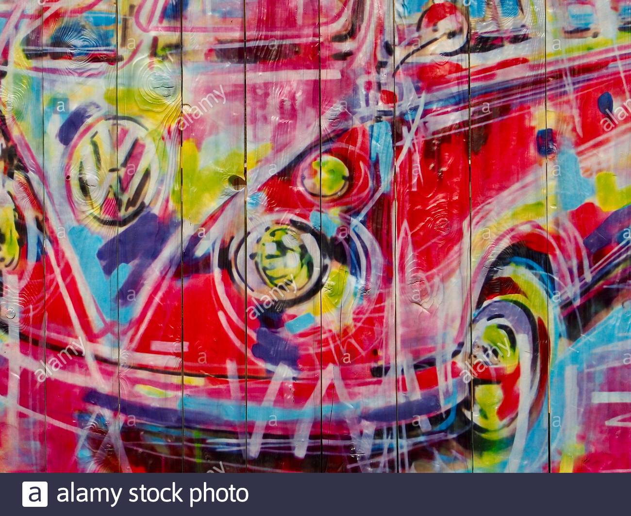 Painting Of A Vintage Vw Bus On A Fence Stock Photo Alamy