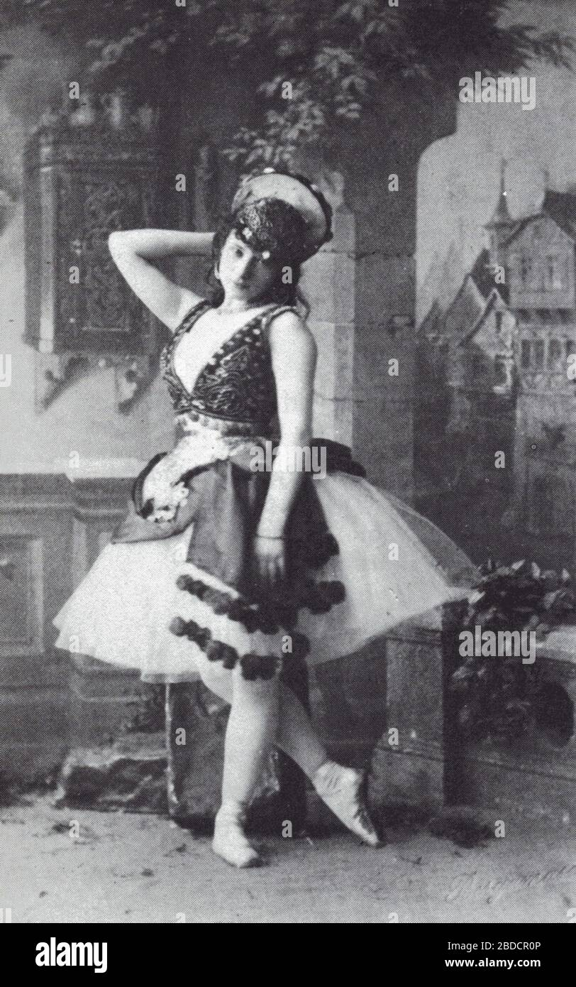 """""""English: Photo of the Italian ballerina Virginia Zucchi (1847-1930) costumed for the title role of the choreographer Marius Petipa's (1818-1910) revival of the choreographer Jules Perrot (1810-1892) and the composer Cesare Pugni's (1803-1870) ballet La Esmeralda, 1886.; 1886; The Divine Virginia - A Biography of Virginia Zucchi by Ivor Guest. Marcel Dekker, Inc. 1977; Unknown photographer of the photography department of the Imperial Mariinsky Theatre. St. Petersburg, Russian Empire.; """" Stock Photo"""