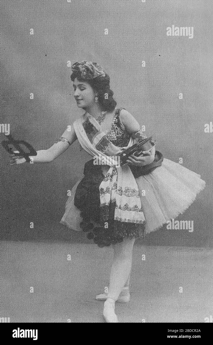 """""""English: Photographic postcard of Mathilde Felixovna Kschessinskaya (1872-1971), Soloist to His Imperial Majesty and Prima ballerina of the St. Petersburg Imperial Theatres. She is costumed for the title role of the ballet La Esmeralda.         Photo comes from own collection and was scanned by me, Mrlopez2681.; 1899 〔original upload date:9 August 2006〕; Transferred from en.wikipedia; Unknown〔Original uploader was Mrlopez2681 at en.wikipedia〕; """" Stock Photo"""