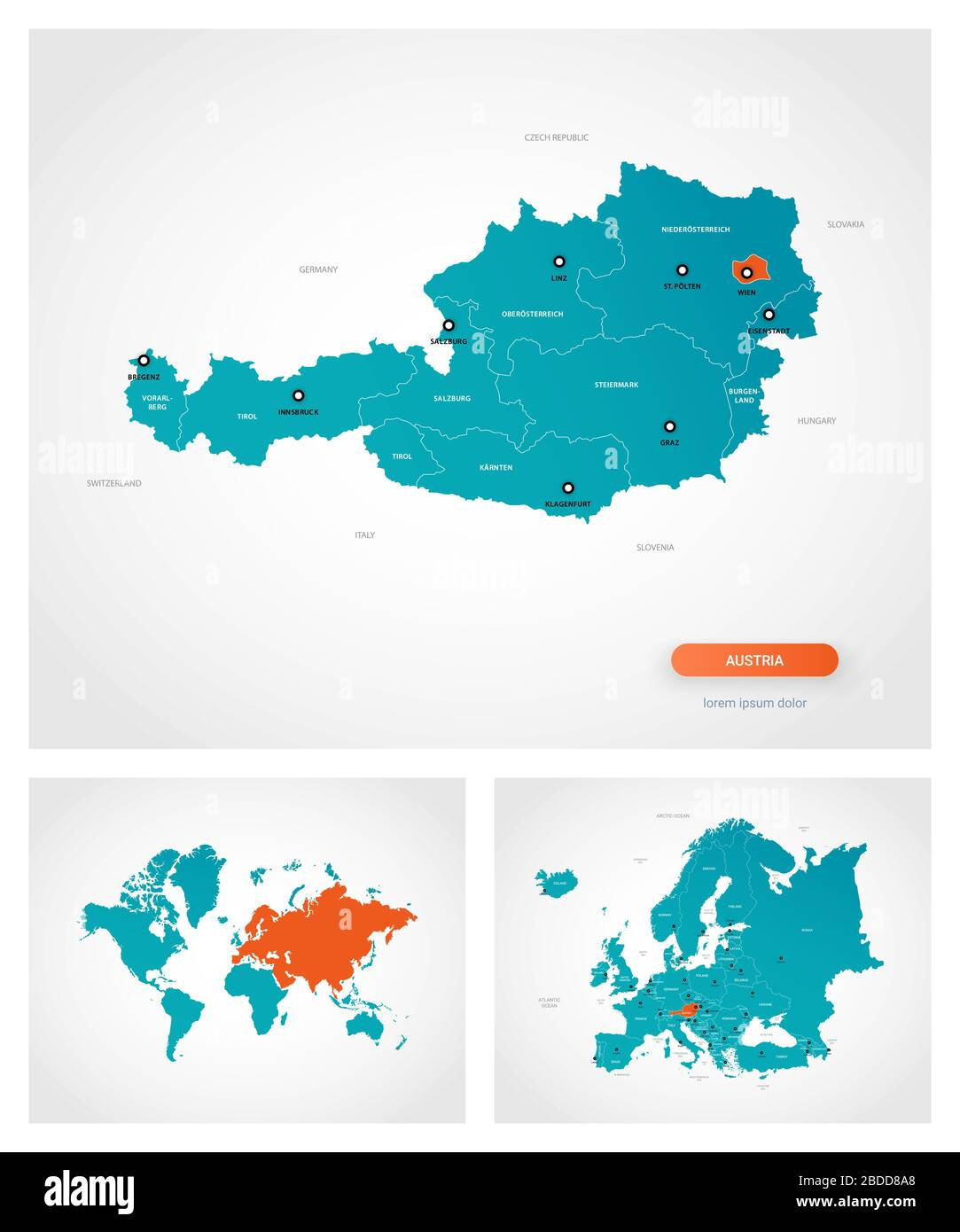 Image of: Editable Template Of Map Of Austria With Marks Austria On World Map And On Europe Map Stock Vector Image Art Alamy