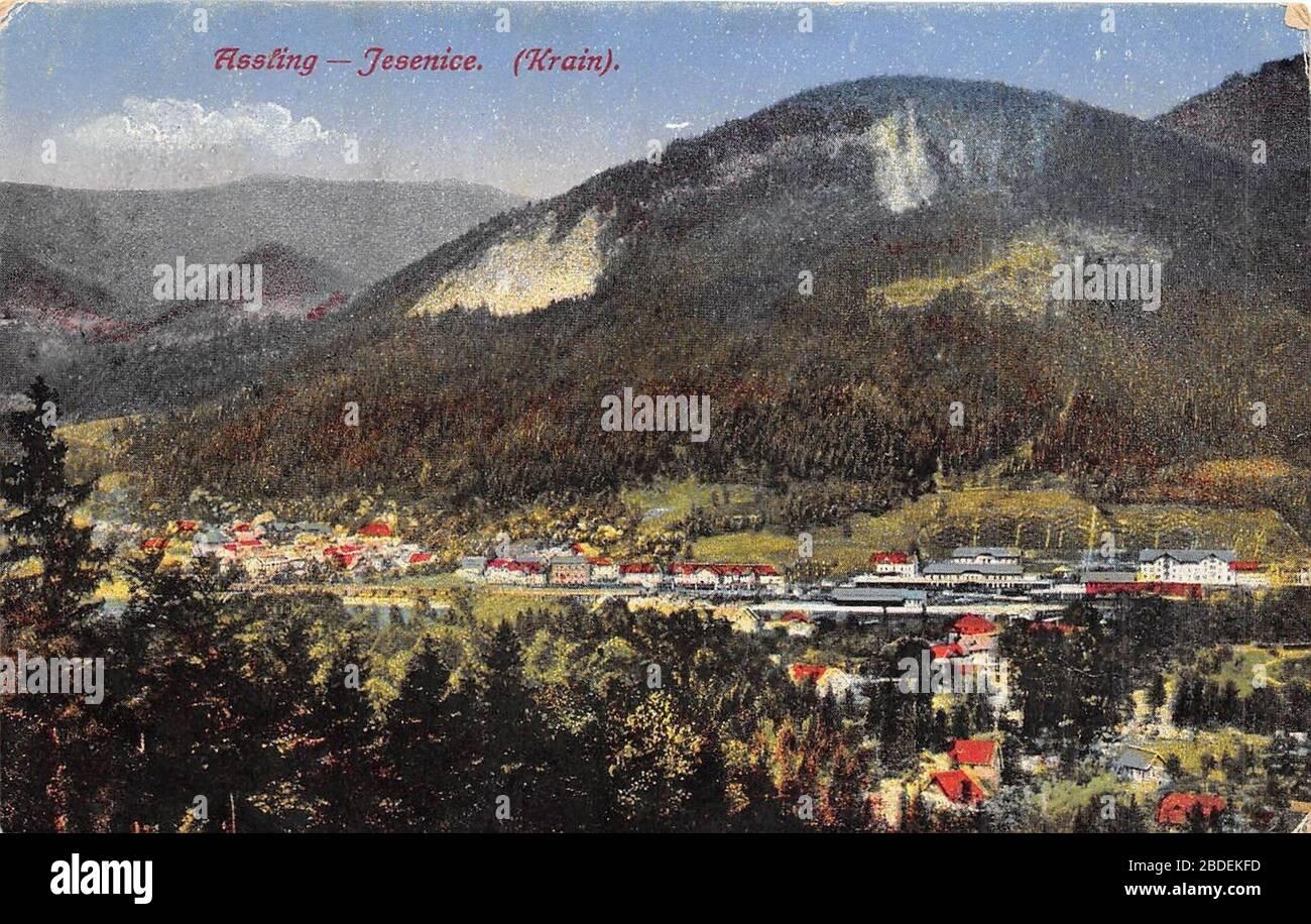 """English: Postcard of Jesenice.; 1918; http://www.ebay.com/itm/B29191-Astling-Jesenice-Krain-slovenia-/121665692868; Purger & Co No. 12828; "" Stock Photo"