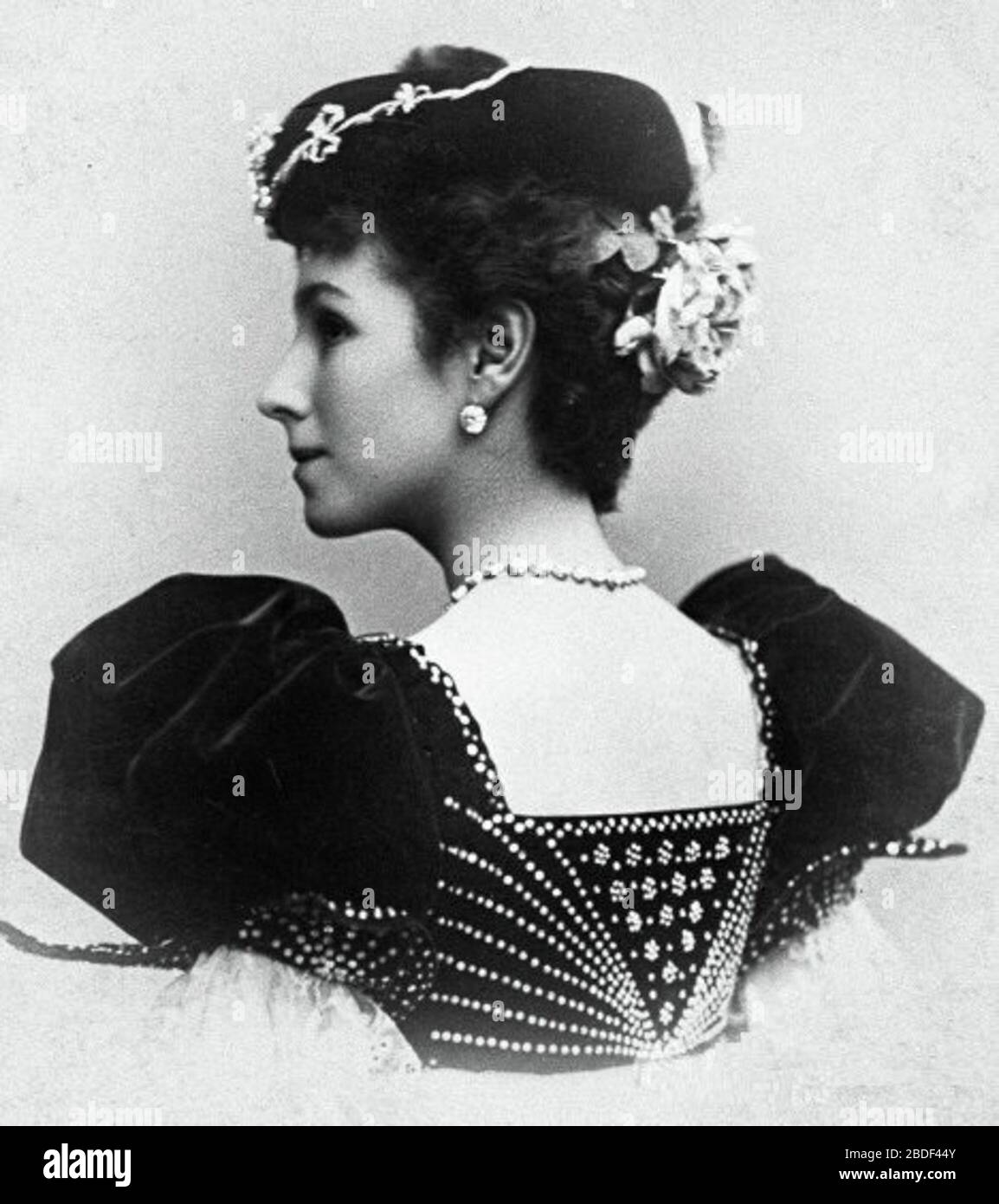 """""""Photographic postcard of Mathilde Felixovna Kschessinskaya (1872-1971), costumed for the Spanish dance.; 1897; The photograph was taken by an unknown photographer at the photography studio of the Imperial Mariinsky Theatre. I (MrLopez2681) scanned the photo from the book The Great Russian Dancers by Gennady Smakov. Knapf. 1984.; Unknown photographer. Photography studio of the Imperial Mariinsky Theatre. St. Petersburg, Russian Empire.; """" Stock Photo"""