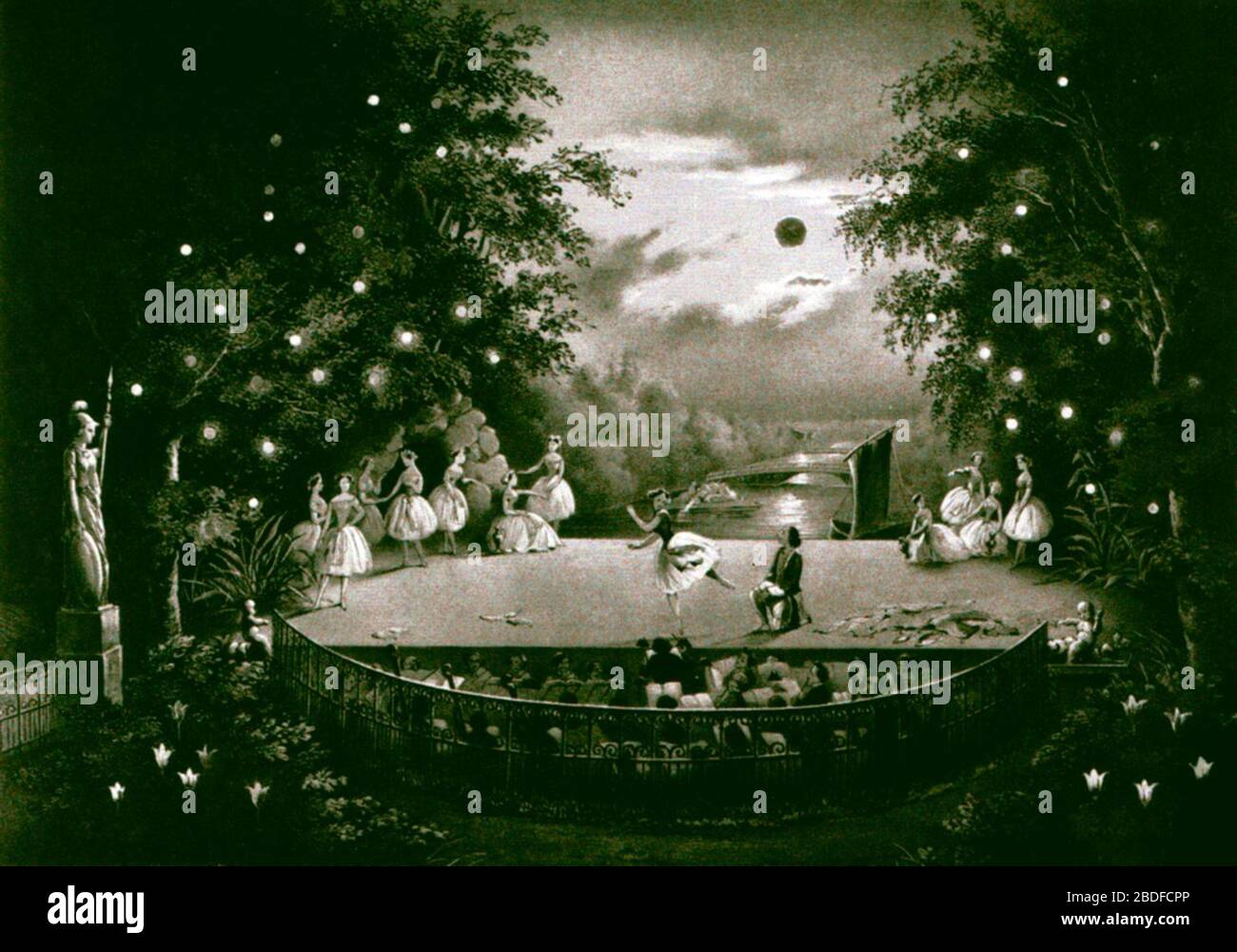 """""""Lithograph depicting an 1851 performance on the outdoor stage of Peterhof - St. Petersburg, Russian Empire - of the choreographer Jules Perrot (1810-1892) and the composer Cesare Pugni's (1802-1870) ballet La Naïade et le pêcheur (a.k.a. Ondine, ou La Naïade). The performance was given in celebration of the birthday of the Grand Duchess Olga Nicolaevna (1822-1892); circa 1851 date QS:P,+1851-00-00T00:00:00Z/9,P1480,Q5727902; Scanned from the book Ballet Art: From the Renaissance to the Present by Mary Clark and Clement Crisp. Published by Clarkson N. Potter, Inc. 1978.; Adolf Charlamagne (182 Stock Photo"""