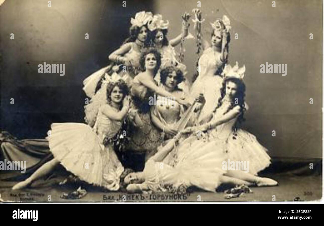 """""""English: Photo of dancers in the choreographer Marius Petipa's (1818-1910) 1895 revival of the choreographer Arthur Saint-Léon (1821-1870) and the composer Cesare Pugni's (1803-1870) 1864 ballet The Little Humpbacked Horse. This photo shows a tableau of ballerinas in the Grand pas des nereids from the ballet's second act.; 1895; Мариус Петипа. Материалы. Воспоминания. Статьи, Л., 1971. (Marius Petipa. Materials, Recollections, Articles).; Unknown photographer of the Imperial Mariinsky Theatre. St. Petersburg, Russian Empire.; """" Stock Photo"""