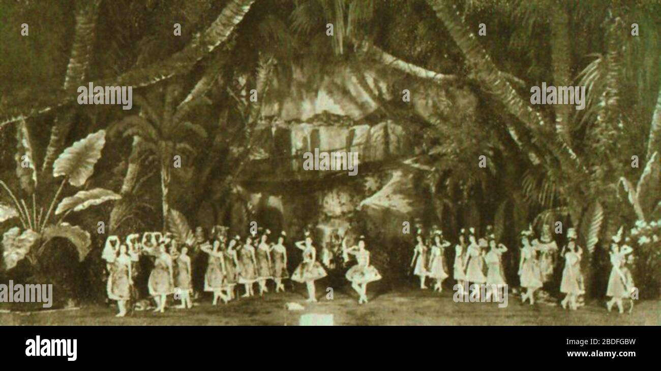 """English: Photo of a scene from the choreographer Marius Petipa (1818-1910) & the composer Cesare Pugni's (1803-1870) 1862 ballet The Pharaoh's Daughter. The photo shows the Grand pas des chasseresses from  Act I of the ballet on the stage of the Imperial Mariinsky Theatre in Petipa's revival of 1898. In the center can be seen the ballerinas (right) Mathilde Kschessinskaya (1871-1970) in the role of the Princess Aspicia, and (left) Olga Preobrajenskaya (1871-1962) in the role of the slave Ramzé.; 1898; Мариус Петипа. Материалы. Воспоминания. Статьи, 1971. (Marius Petipa. Materials. Recollectio Stock Photo"