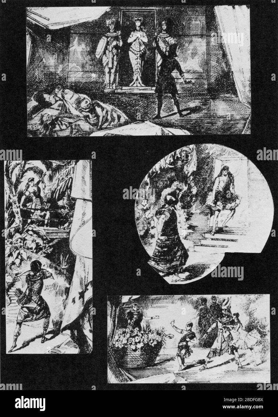"""""""Lithograph of scenes by P. A. Grogoriev of scenes from the choreographer Marius Petipa (1811-1910) and the composer Cesare Pugni's (1803-1870) ballet The Pharaoh's Daughter.; 1885; The Divine Virginia - A Biography of Virginia Zucchi by Ivor Guest. Marcel Dekker, Inc. 1977; Pavel Anreievich Grigoriev (1840-1903); """" Stock Photo"""