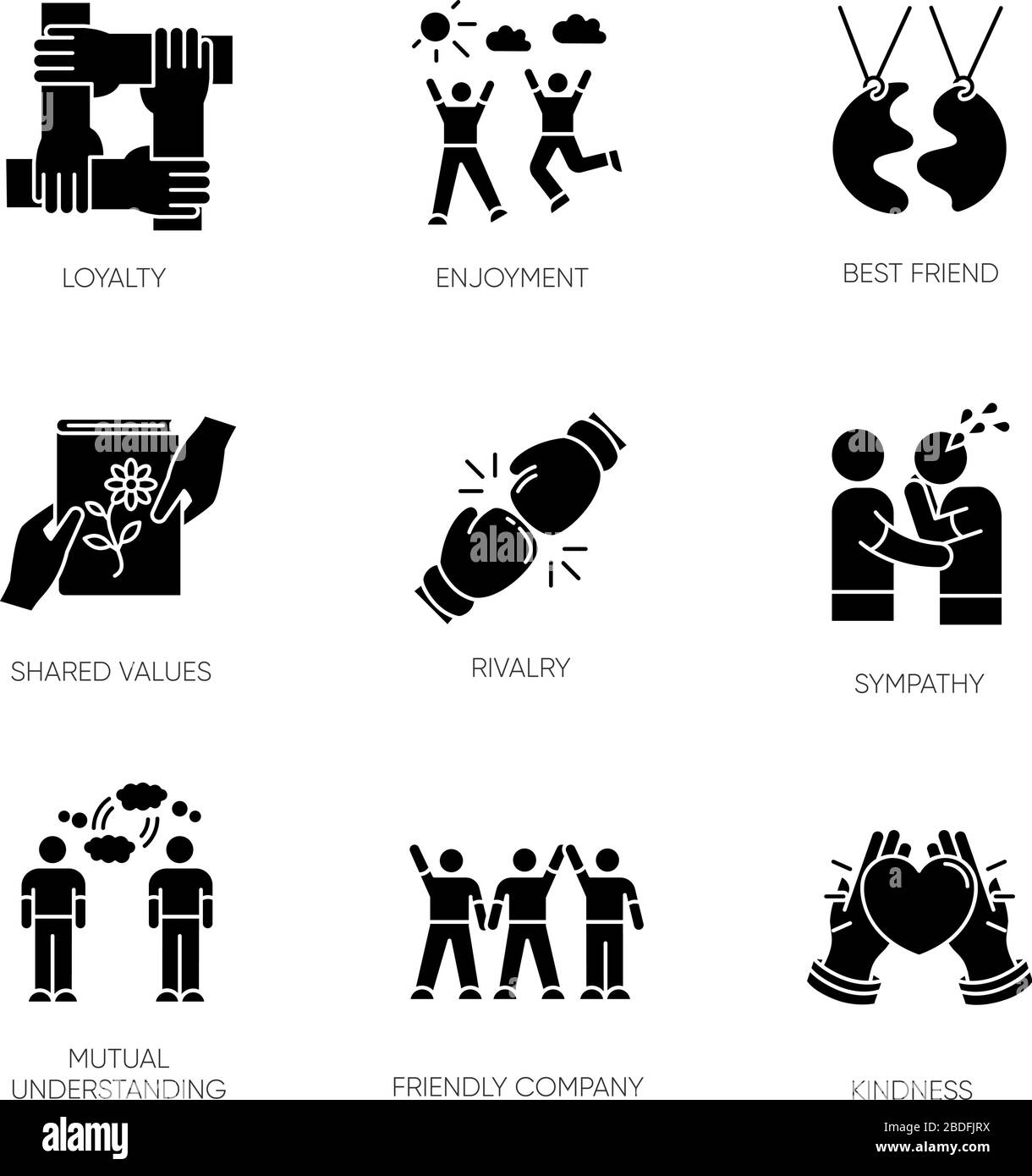 Friendship Black Glyph Icons Set On White Space Emotional Affection Interpersonal Bond Social Relationship Silhouette Symbols Togetherness And Stock Vector Image Art Alamy