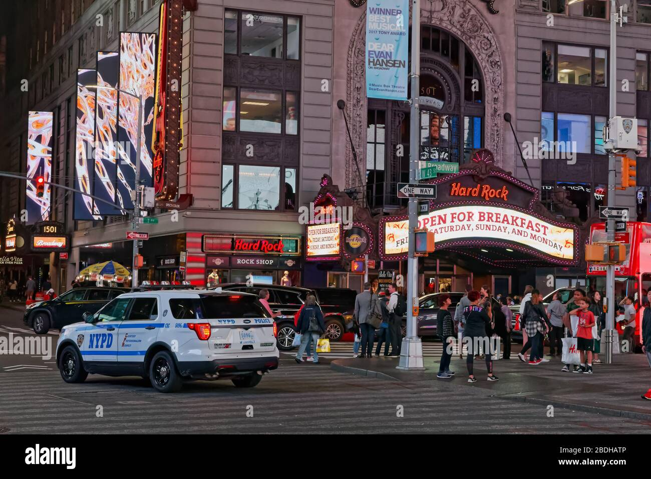 People walk to and from Times Square in New York Stock Photo