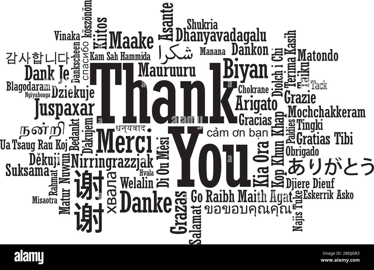 Thank You Word Cloud in multiple international language in vector format Stock Vector