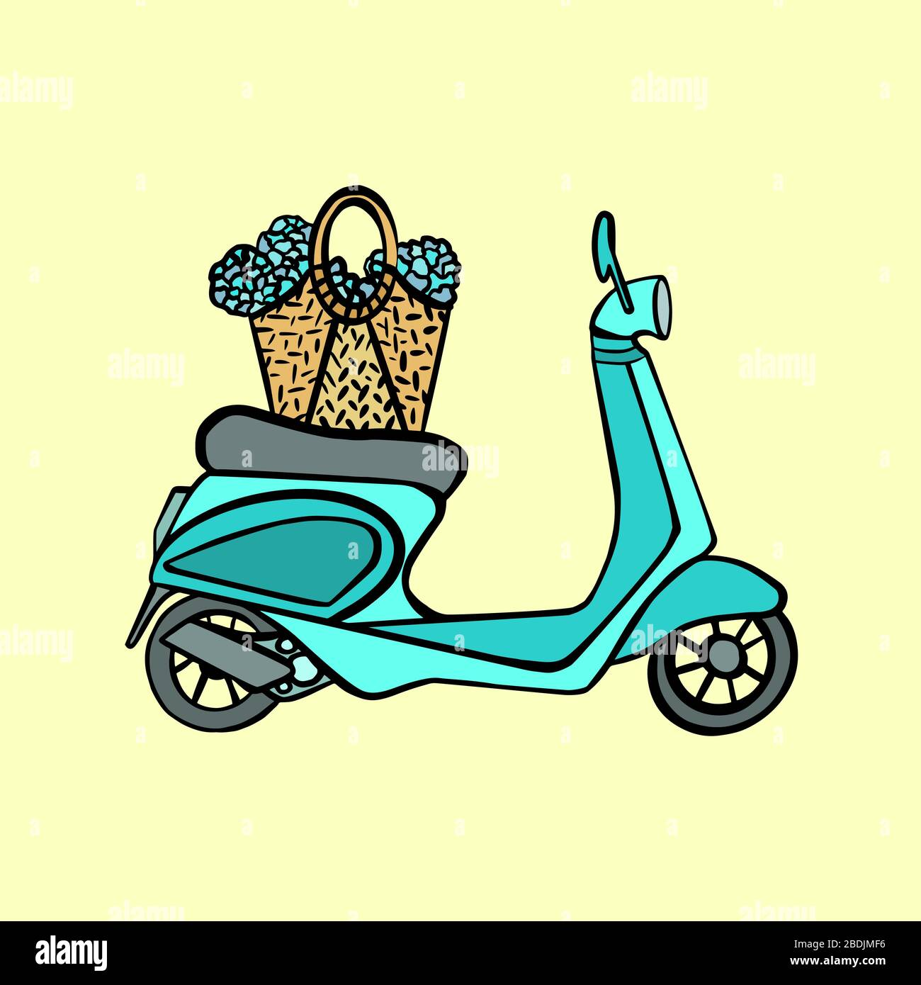 Blue Vintage Scooter Vector Illustration Green Vespa With Flowers In Basket On Yellow Background Cute Motobike Flat Cartoon Style Stock Vector Image Art Alamy