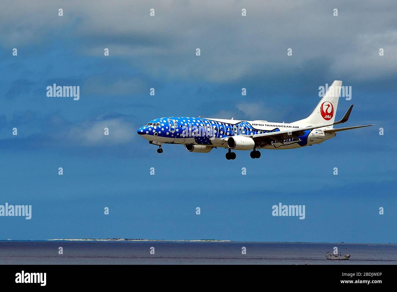 Japan Transocean Air, JTA, Boeing B-737/800, JA 05RK, Whaleshark, Landing, Naha Airport, Naha, Okinawa, Ryukyu Islands, Japan Stock Photo