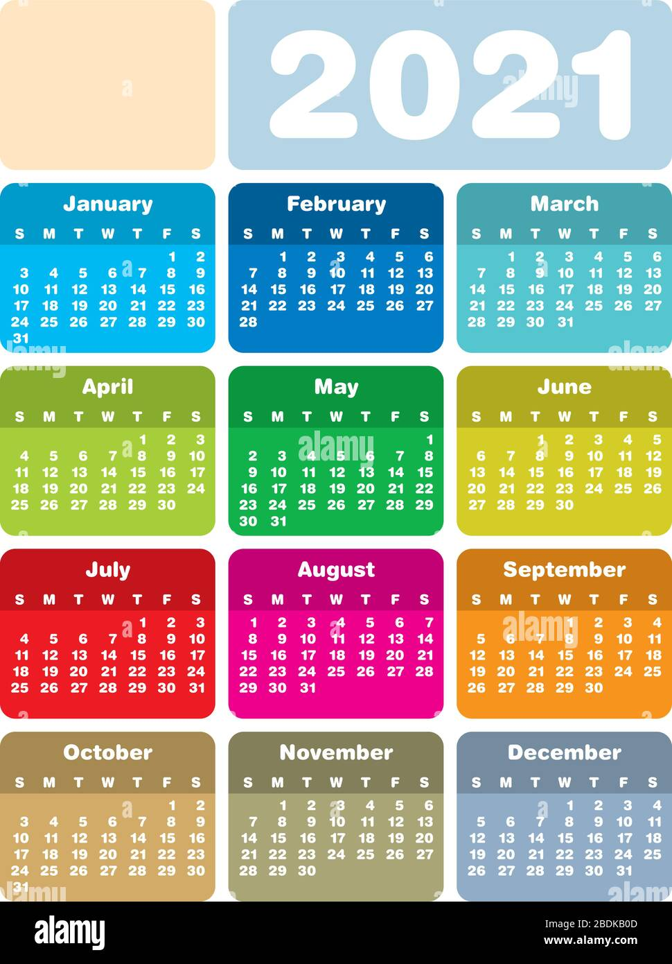 2021 Colorful Calendar Colorful Calendar for Year 2021, in vector format Stock Vector